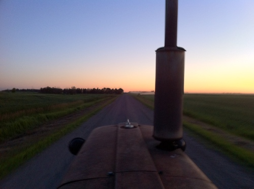 Driving home after a long day of farm work in July 2011.